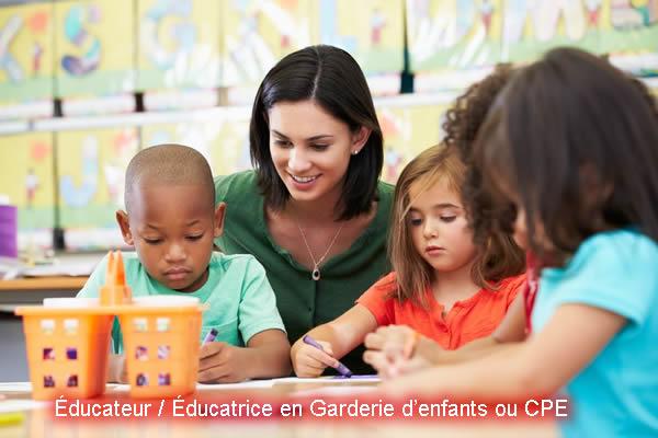 Éducateur / éducatrice en garderie d'enfants ou cpe
