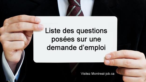 Liste des questions posées sur une demande d'emploi